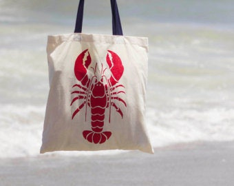 Lobster Tote with Navy handles for Anna Bak