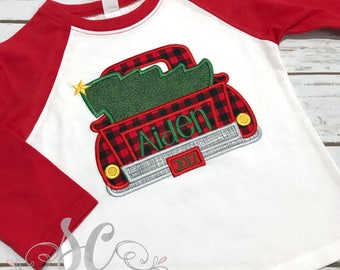 Boys Christmas Shirt - Christmas Tree Shirt with Truck - Toddler Christmas Shirts - Christmas Tractor Shirt - Personalized Christmas shirt