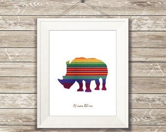 Rhino wall decor, rhino wall art, rhino decor, rhino figure, rhino print, rhino paper, rhino nursery, african downloadable print