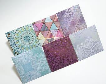 Purple Mini Envelopes, Geometric Designs Mini Envelopes, Teal Mini Envelopes, Colorful Mini Envelopes