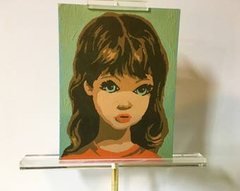 Paint by Number Girl with Big Eyes Vintage