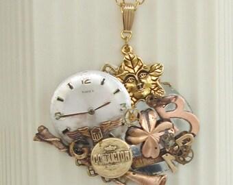 Steampunk Necklace. Vintage Reborn Jewelry. Victorian/Industrial Revolution. Watch Parts, Vintage Charms