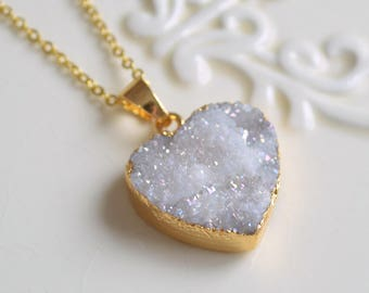 White Druzy Necklace, Heart Necklace, Real Gemstone, Raw Drusy Pendant, Gold Jewelry, Valentines Day Gift, Free Shipping