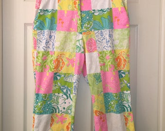 Vintage LILLY PULITZER Beach Patch Cropped Pants Sz 10
