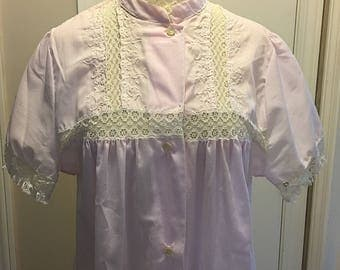 Lovely Vintage Christian Dior Pink Short Sleeve Button Down Long Cotton Robe