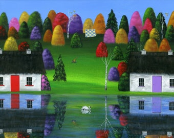 Original Painting Hilly Huey Impression - 16x40 - Colorful Folk Art Fall Cottage on Lake Scene Reflection in Water - OOAK Acrylic on Canvas