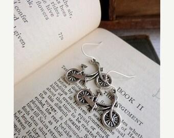 40% OFF SALE Two sided bicycle earrings, silver tone, bike jewelry, bike earrings, Student Transport