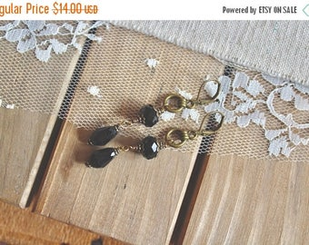 40% OFF SALE Black glass bead dangle earrings with bronze loop accent, The Recital