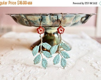 30% OFF Boho chic patina leaf / branch dangle earrings with poppy red flower bead, Springtime in the Forest of Arden