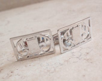 Sterling Silver Cufflinks Anson Engravable Rectangular Scroll Design Vintage V0887