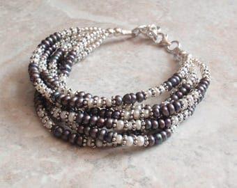 Multi Strand Pearl Bracelet Layered Sterling Findings Peacock White Adjustable Vintage V0265