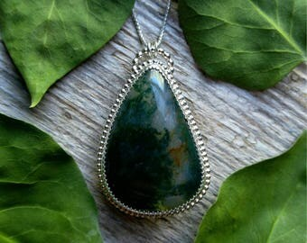 Moss Agate Necklace Sterling Silver Green Stone Pendant Gemstone 925 Jewelry LunaMesaCo