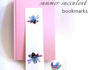 Summer Succulent Bookmark - rose succulent, cactus, lavender blue and pink watercolor illustrated bookmark, laminated bookmark