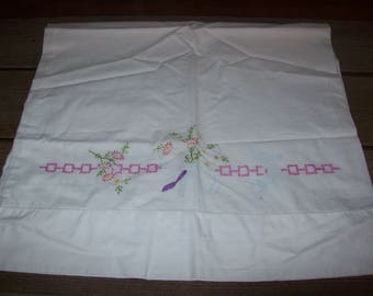 Vintage Linen Hand Embroidered Pillowcase