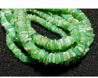 ON SALE 55% Chrysoprase Beads, Heishi Beads, Spacer Beads, 5mm To 6mm Each, 8 Inch Half Strand