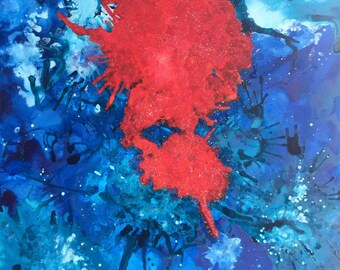 Red Is The Color Of Life - Original mixed media painting on Yupo paper