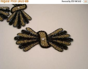 ON SALE Black and Gold Deco Bow Shape Beaded Applique--One Piece