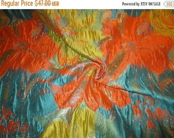 ON SALE Turquoise Orange and Chartreuse Floral Design Imported Metallic Brocade Fabric--One Yard