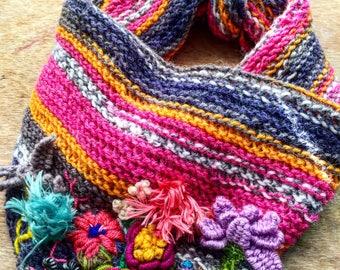 Flower garden hand embroidery knitted bandana