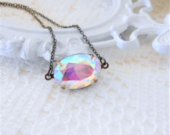 Aurora Borealis Necklace, Art Deco Necklace, Old Hollywood,Vintage Glass Necklace,Aurora Borealis Jewelry,Iridescent Crystal,Northern Lights
