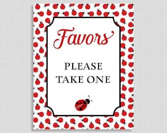 Favors Please Take One Printable Sign, Ladybug Shower Favor Sign, Baby Girl Shower Sign, 2 Sizes, INSTANT DOWNLOAD