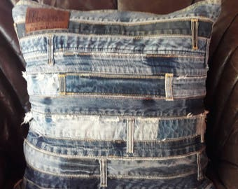 Vintage jeans waistbands cushion cover