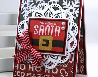 We Believe in Santa Christmas Greeting Card Polly's Paper Studio Handmade