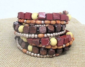 Beaded Wood Bracelet, Brown Multistrand Bracelet, Wood Bracelet Handmade, Boho Wood Bracelet Women, Gift for Her, One Size Fits Most