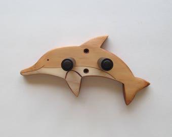 Ukulele wall mount hanger, handcrafted dolphin