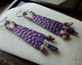 Hammered Long Trapezoid with Purple Patina Wire Wrapped Raw Amethyst and Pink Tourmaline Earrings, Statement, Rustic, Tribal, Bohemian