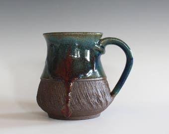 Unique Pottery Mug, 11 oz, Pottery coffee mug, handmade cup, handthrown mug, stoneware mug, wheel thrown mug, ceramics and pottery