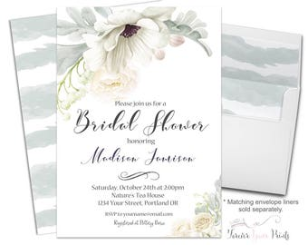 Bridal Shower Invitation - Bridal Shower Invite - Floral Bridal Invite - Wedding Shower - Bridal Brunch - Bridal Luncheon - Bridal Tea