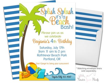 Beach Party Invitation - Beach Birthday Invitation - Summer Birthday Invitation - Beach Party Invite - Beach Invitation - Beach Invites