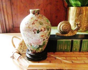 Vintage Petite Cloisonne Vase, Famille Rose, Mums and Lotus Flower Vase, Chinese Cloisonne Vase with Base, Oriental Decor, Tablescape Decor
