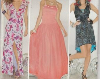 Long Dress Pattern Bodice Variations Short Misses Size 12 - 14 - 16 - 18 - 20 uncut Simplicity 1671 Suede says