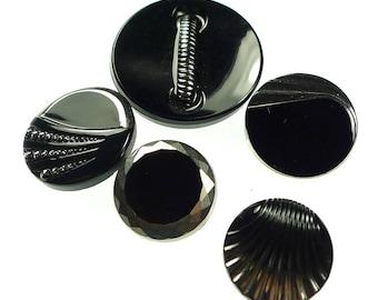 Black glass buttons 5 pcs