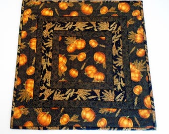 Elegant Quilted Table Topper with Pumpkins and Golden Wheat, Autumn Table Runner Quilt, Pumpkins Table Quilt, Black and Gold, Gold Metallic