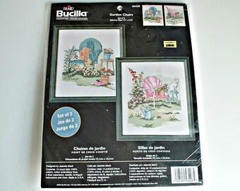 Bucilla Counted Cross Stitch  Garden Chairs Kit 43428 In Package Unopened DIY NIP Bucilla Kit