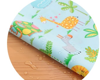 Wide Dual Waterproof Polyester Fabric By the yard  'Zoo ' (width 59 inches) 90334