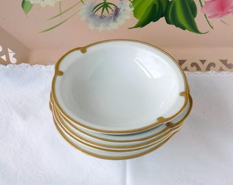Tea Party Bowls. Vintage Wedding China. Thomas Sevres Bavaria Germany. White and Gold China. Bridal Luncheon Tableware. Entertaining.