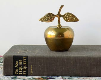Brass Apple Bell. Teacher's Gift. Desk Accessory. Paperweight. Vintage Office Decor. Figurine. Housewares. Table Accent.
