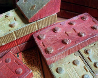 American Bricks Vintage 1940s -1950s Halsam Wood Wooden Toy Building Blocks Children's Play 57 pieces