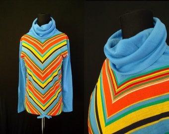 COWL Neck Chevron Striped Blue Vintage 1970's NOS Women's Hippie Shirt S