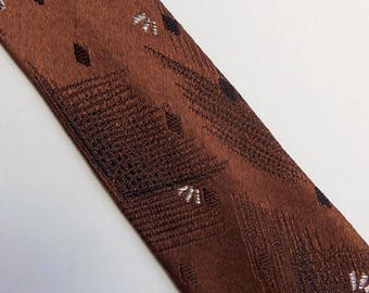 Vintage 60's Skinny Tie Necktie in Camel Brown with Brown, Black and White Design 2 1/8""