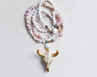 Longhorn Necklace, Bison Necklace, Gold Longhorn, Pink Opal Necklace, Opal Necklace, Statement Necklace, Animal Necklace, Festival Necklace