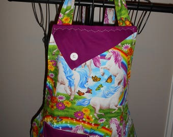 Unicorns, Rainbows, Flowers and Butterflies Women's Apron