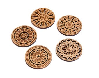 Kaleidescope Wood Cut Coasters // Alder Wood