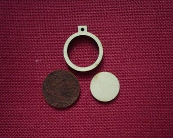 """Mini Round Wooden Embroidery hoop for Necklaces or pendants - 1.25"""" size"""