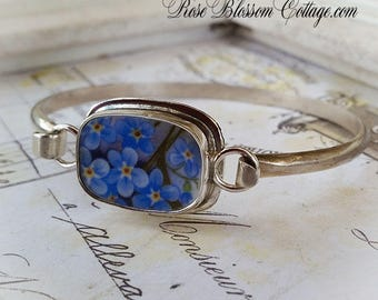Forget Me Not Porcelain Broken China Jewelry Sterling Bangle Bracelet