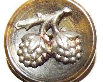 Antique Button ~ Vegetable Ivory Button Metal Raspberry Escutcheon